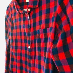 J crew navy red flannel check shirt medium